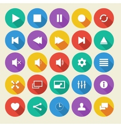 Media player flat icons with long shadow vector