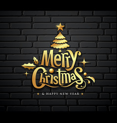 merry christmas gold message with tree star ball vector image