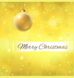 merry christmas text on decoration gold background vector image