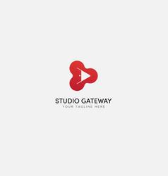 Modern studio gateway logo design with door vector