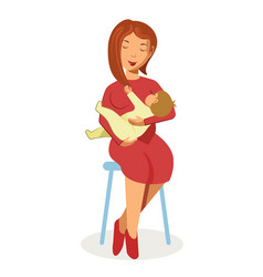 Mother in red dress sits on stool and holds baby vector