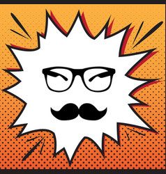 mustache and glasses sign comics style vector image
