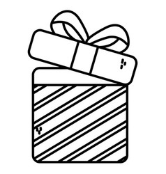 open gift box surprise merry christmas thick line vector image