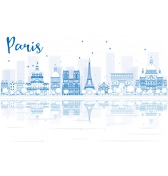 Outline paris skyline with blue buildings vector