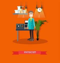 physicist concept in flat vector image