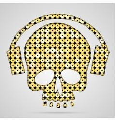 Pink sequin skull with headphones vector