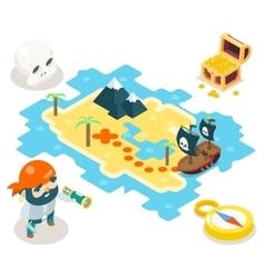 Pirate Treasure Adventure Game RPG Map Icon vector
