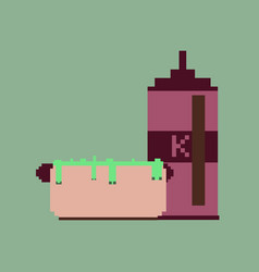 pixel icon in flat style hotdog and ketchup vector image