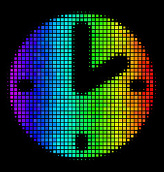 rainbow dotted clock icon vector image
