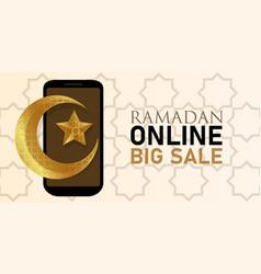 ramadan online big sale smartphone mobile discount vector image