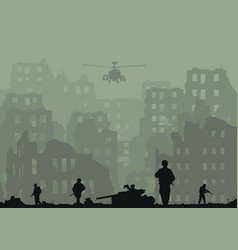 Ruined city exploded tanks h vector
