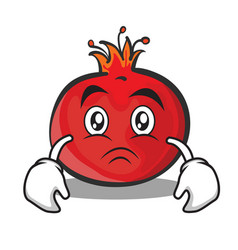 Sad face pomegranate cartoon character style vector