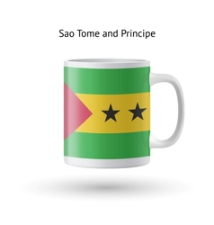 Sao Tome and Principe flag souvenir mug on white vector image