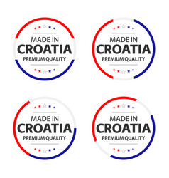 set four croatian icons made in croatia vector image