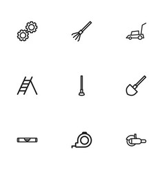 Set of 9 editable tools icons includes symbols vector