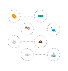 set of america icons flat style symbols with flag vector image