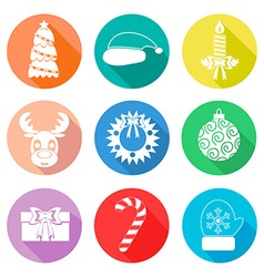 Set of Christmas icons flet White color vector image