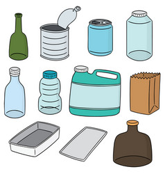 set of recycle item vector image