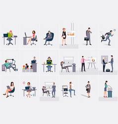 Set with businessmen and businesswomen young men vector