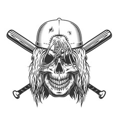 skull in cap with long hair vector image