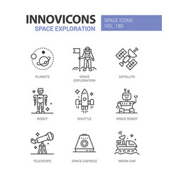 Space exploration - line design style icons set vector