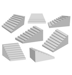 Staircases 3d interior gray stairs realistic vector