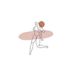 Surf girl bodypositive hand drawn woman line vector