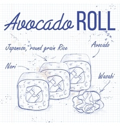 sushi sketch Avocado roll vector image