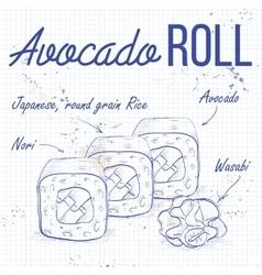 sushi sketch Avocado roll vector image