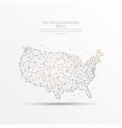 usa map low poly wire frame on white background vector image