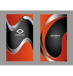 Vertical orange business card vector