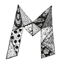 Vintage monogram m doodle alphabet character vector