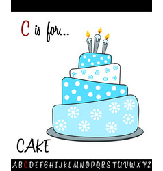 Vocabulary worksheet card with cartoon cake vector