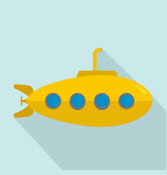 yellow submarine icon flat style vector image