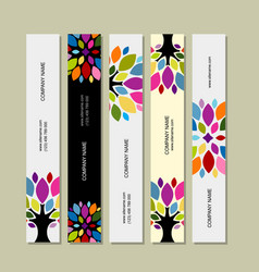 banner set art tree design vector image vector image
