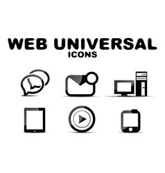 Black glossy web universal icon set vector image vector image