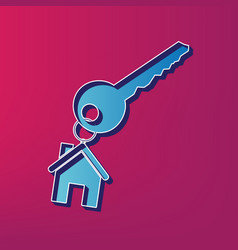 key with keychain as an house sign blue vector image vector image
