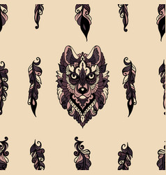 Seamless pattern with wolf vector