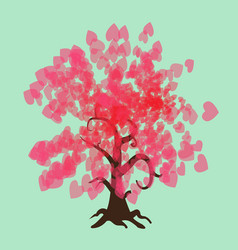 valentine tree with red hearts vector image