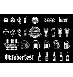 black beer icons set lager vector image