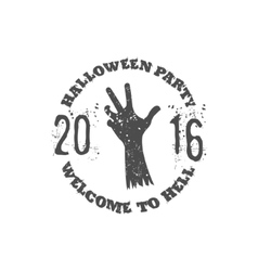 Halloween party label template with zombie hand vector image vector image