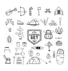 hand drawn camping set vector image vector image