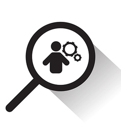 magnifying glass with man and cog icon vector image