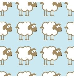 Seamless pattern with sheep on blue background vector image vector image