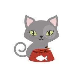 gray small cat green eyes plate food fish print vector image vector image