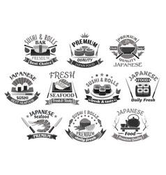 icons for japanese sushi premium restaurant vector image
