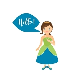 Princess with speech bubble for game vector image
