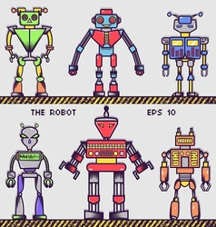 Retro robot collection vector
