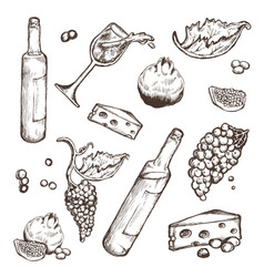 Set of sketches beverage and food on a vector
