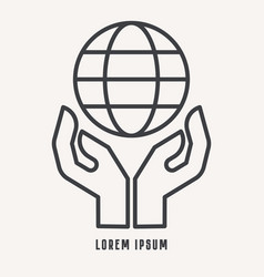 Two hands holding globe line icon for web vector